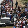 Crowd viewing sturgeon release